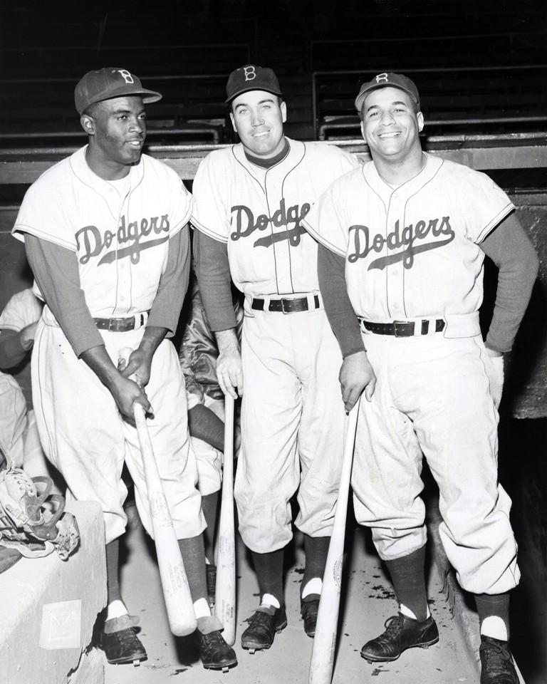 Jackie Robinson, Duke Snider, and Roy Campanella