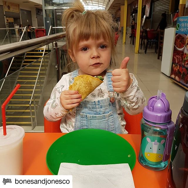 #Repost @bonesandjonesco • • • • • • She gives it a one thumb up because the other one is unavailable, holding the taco! #spicyintraining