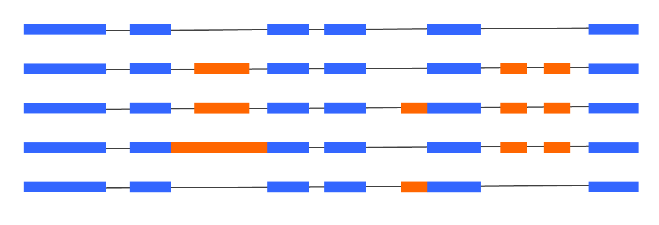 Figure 3 - Many transcript isoforms can exist per gene. Many events may appear to be co-spliced with distant events. When using standard short read data, it is impossible to know if these events are really co-regulated or if they just appear that way in the annotation, because a single short read cannot link the two together.