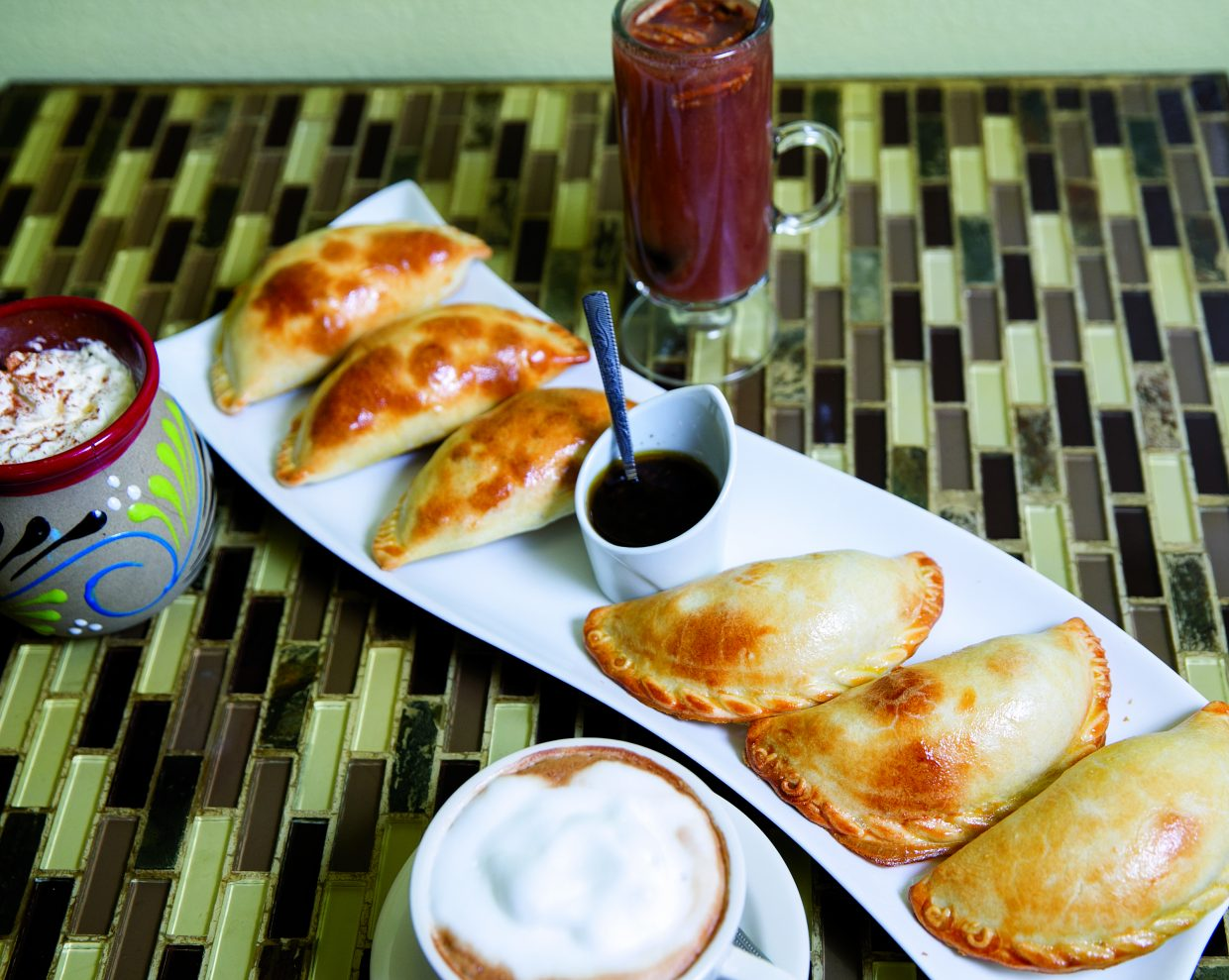 We make empanadas from scratch, including chicken, meat or vegetables.