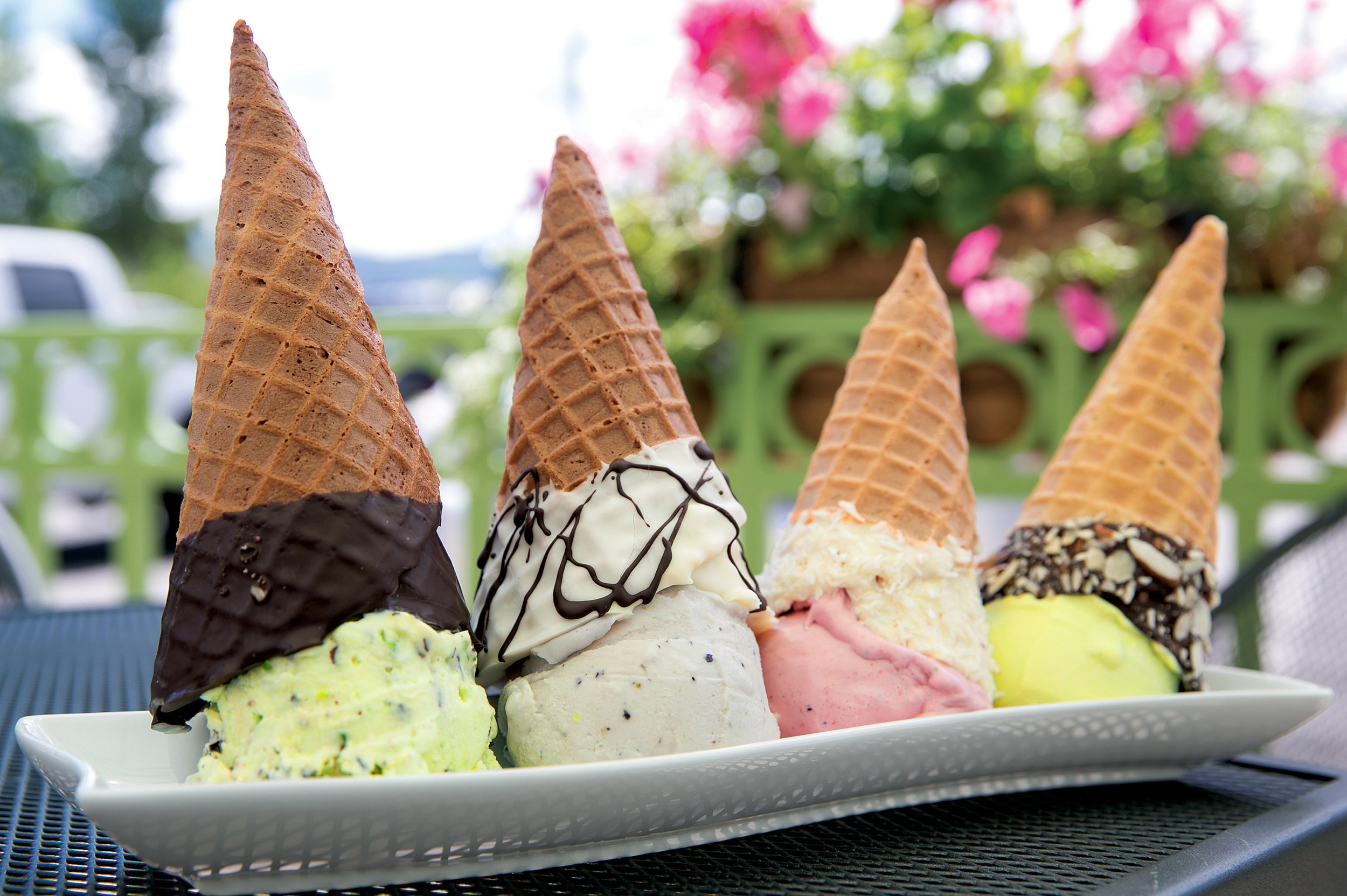 Delicious homemade gluten free, chocolate dipped, or regular cones.