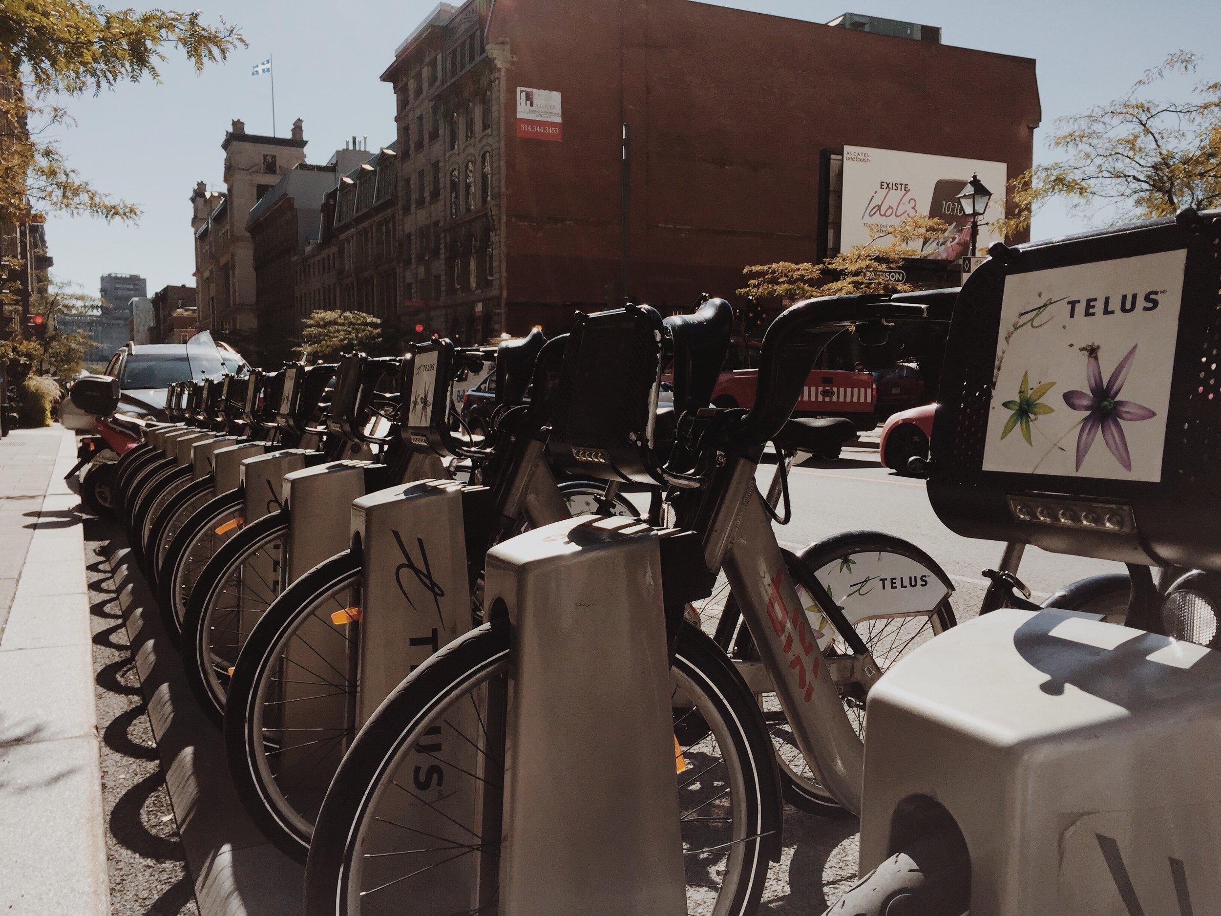 Bixi bikes on McGill Avenue via Lora Weaver Mysteries by Katy Leen