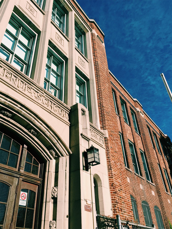 School in NDG/Snowden via Lora Weaver Mysteries by Katy Leen