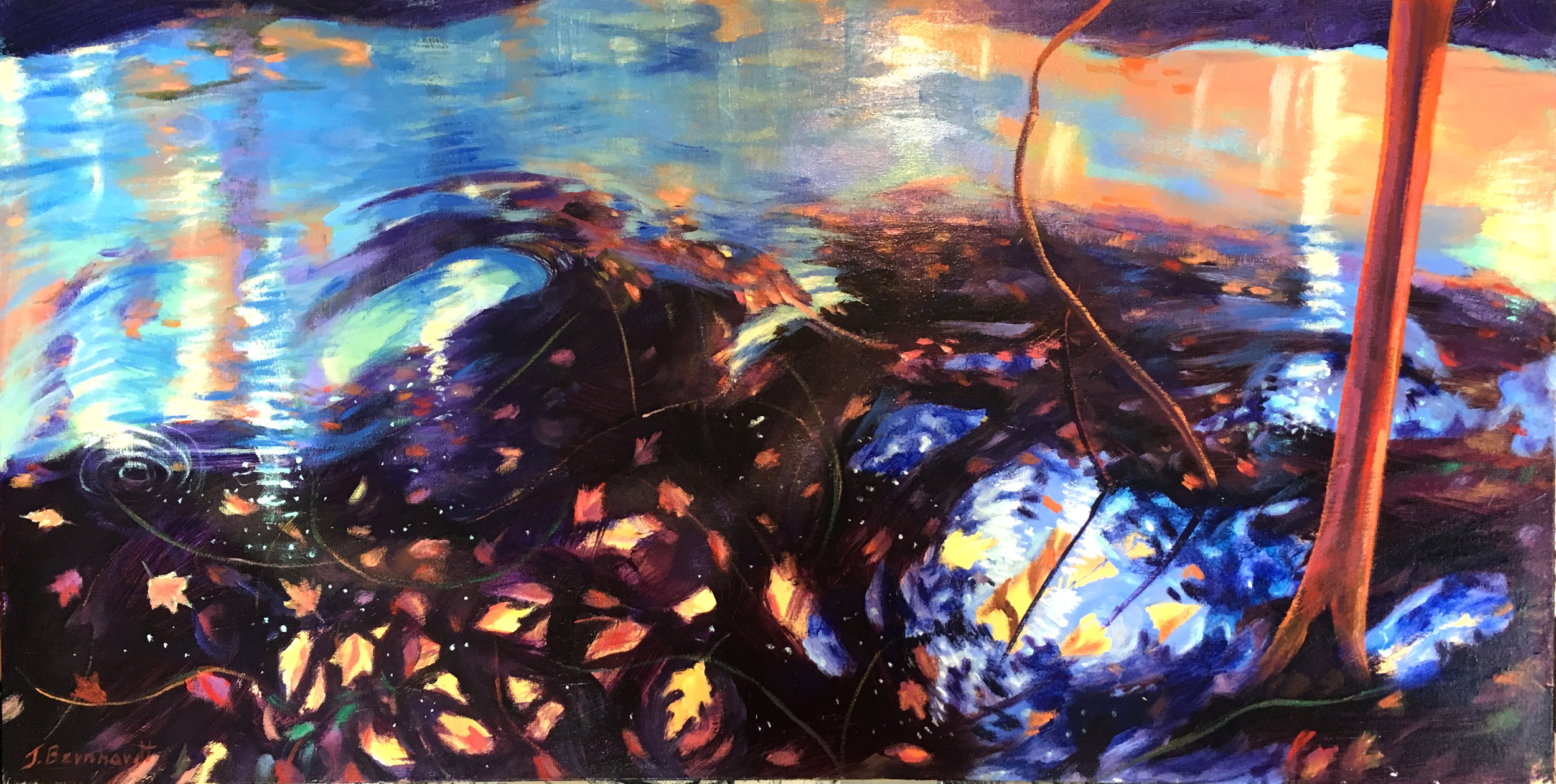 "Here is a downward glance at spiraling golden leaves in a shallow stream.  Acrylic on Canvas   24""x48"""