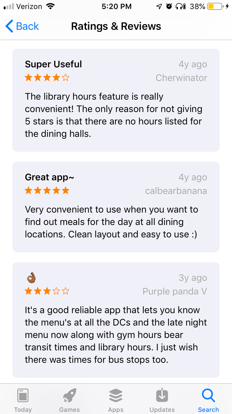 Reviews from the app store