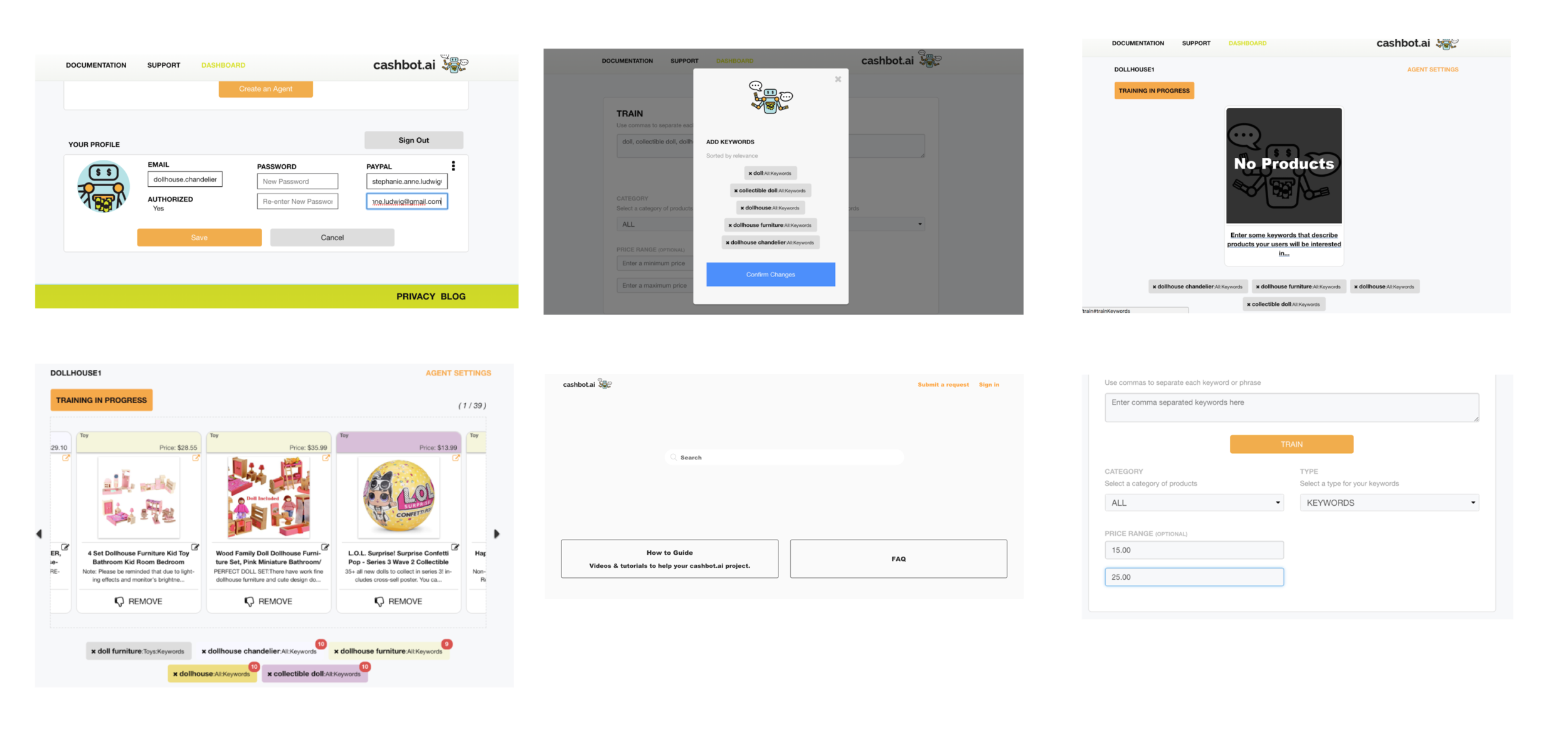 select screenshots from the previous design of the dashboard and sign up.