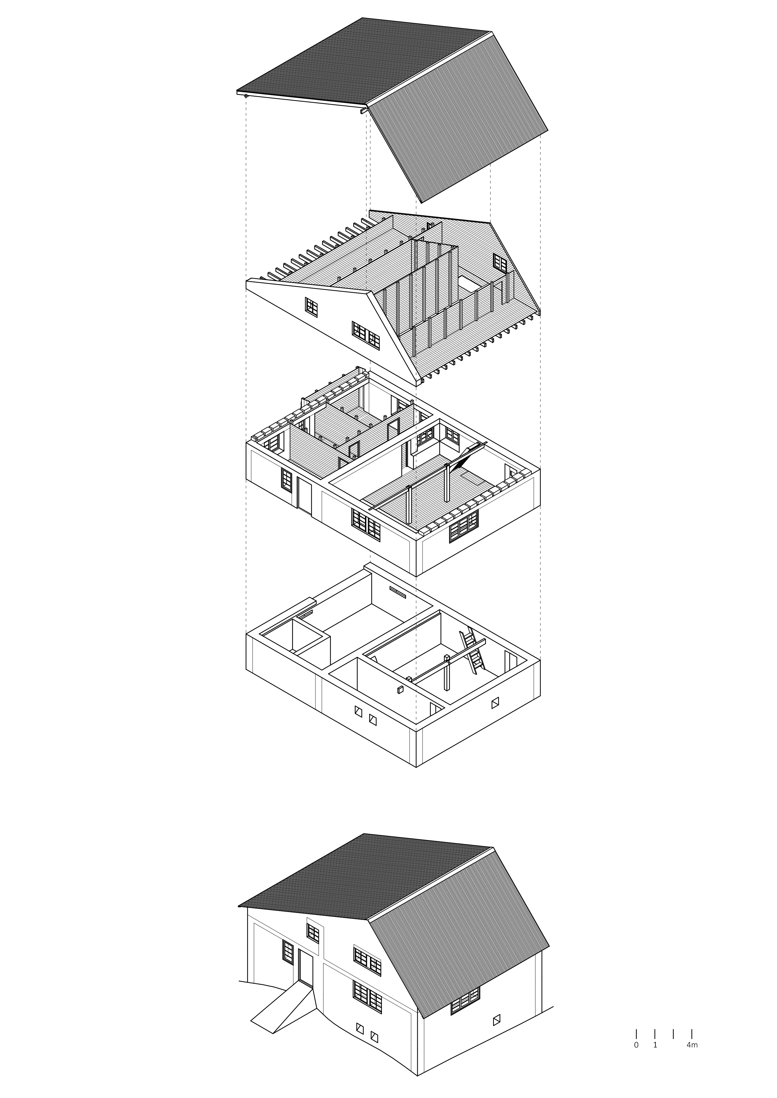 6. Isométrica explotada del Refugio Garganta del Diablo - Katrin Benöhr