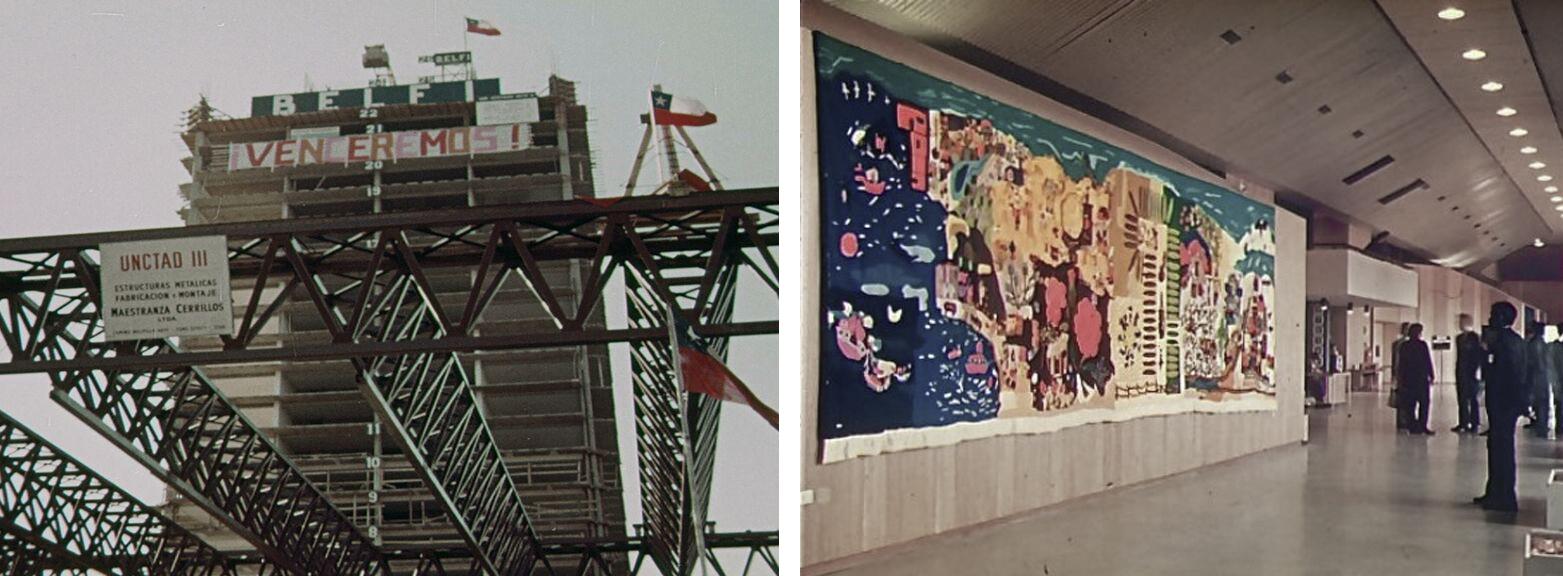"""4. Construcción del UNCTAD III. El lienzo instalado por los trabajadores tiene escrita la consigna: """"¡VENCEREMOS!"""". 5. Arpillera """"Isla Negra"""" instalada en el interior de UNCTAD III."""
