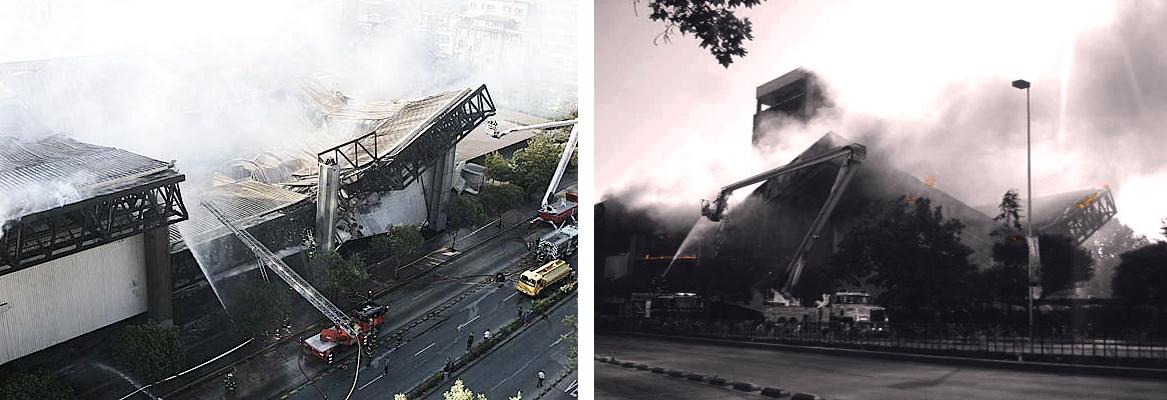 9 y 10. Incendio del Diego Portales. Colapso de la estructura metálica, su elemento visual más característico.