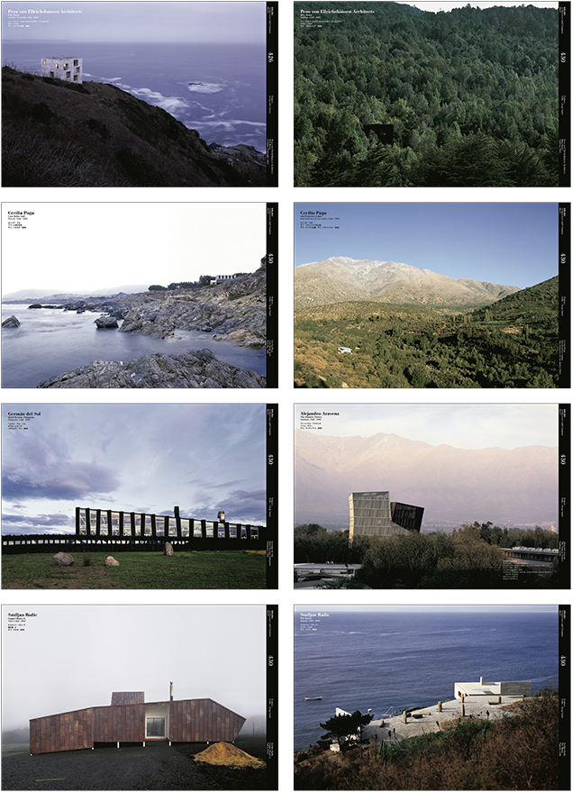 Obras de arquitectura chilena contemporánea en revista A+U n430. Fuente: Revista ARQ n64, 2006.