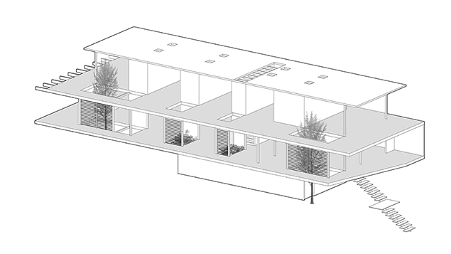 Axonométrica Casa Horizontal - © Juan Tohme