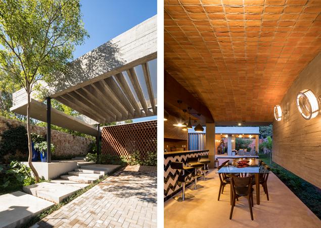 Versatilidad del Ladrillo - Casa Patios - izquierda © Federico Cairoli, derecha © Leonardo Mendez