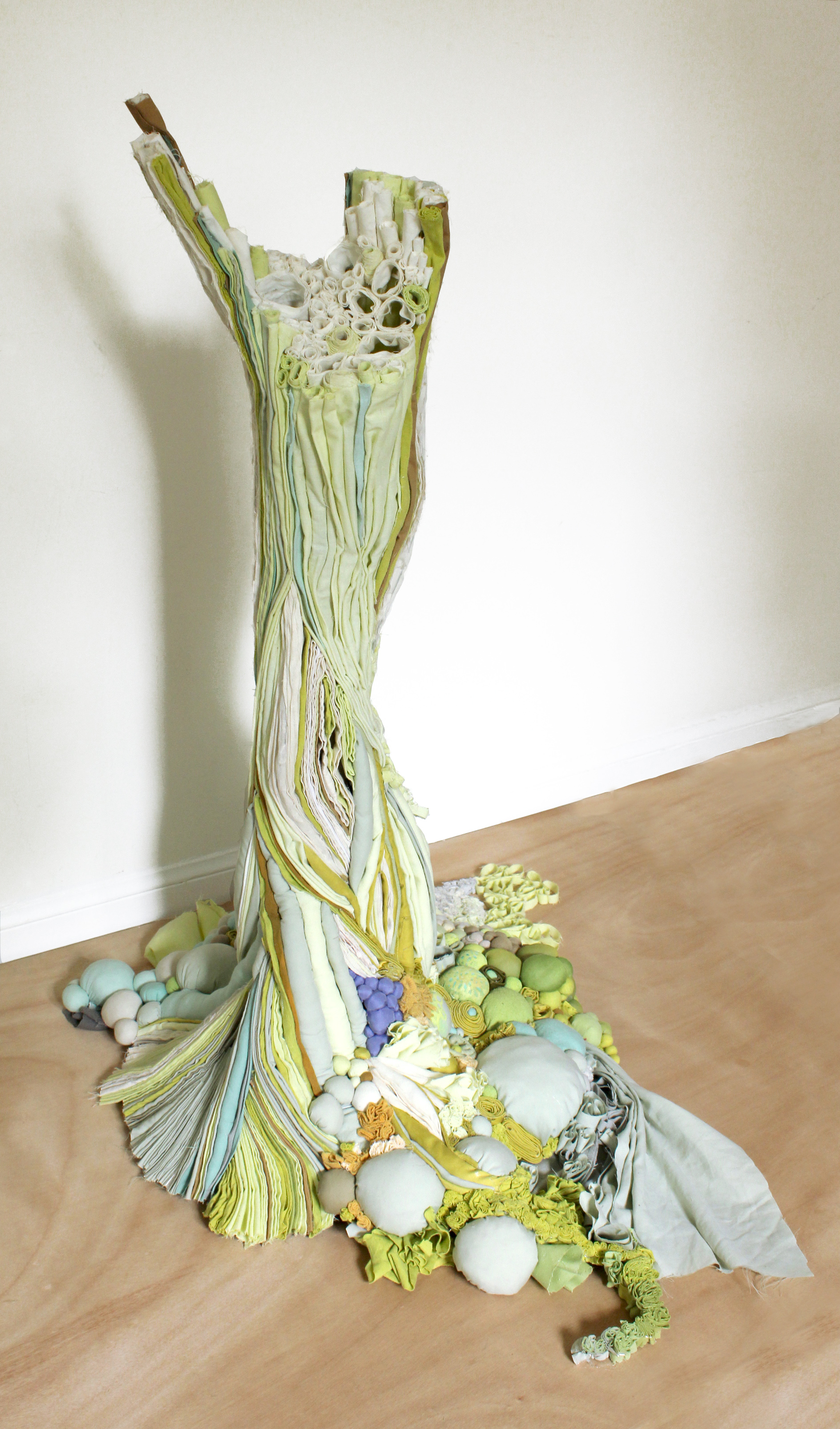 Taxus, 2011   reclaimed fabric, acrylic, ink   2'L x 3'H x 2'D