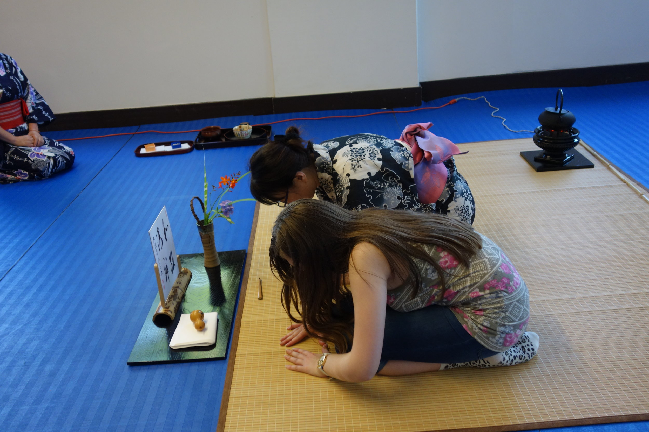 Campers participate in tea ceremony.  Photo: Stephanie Chan