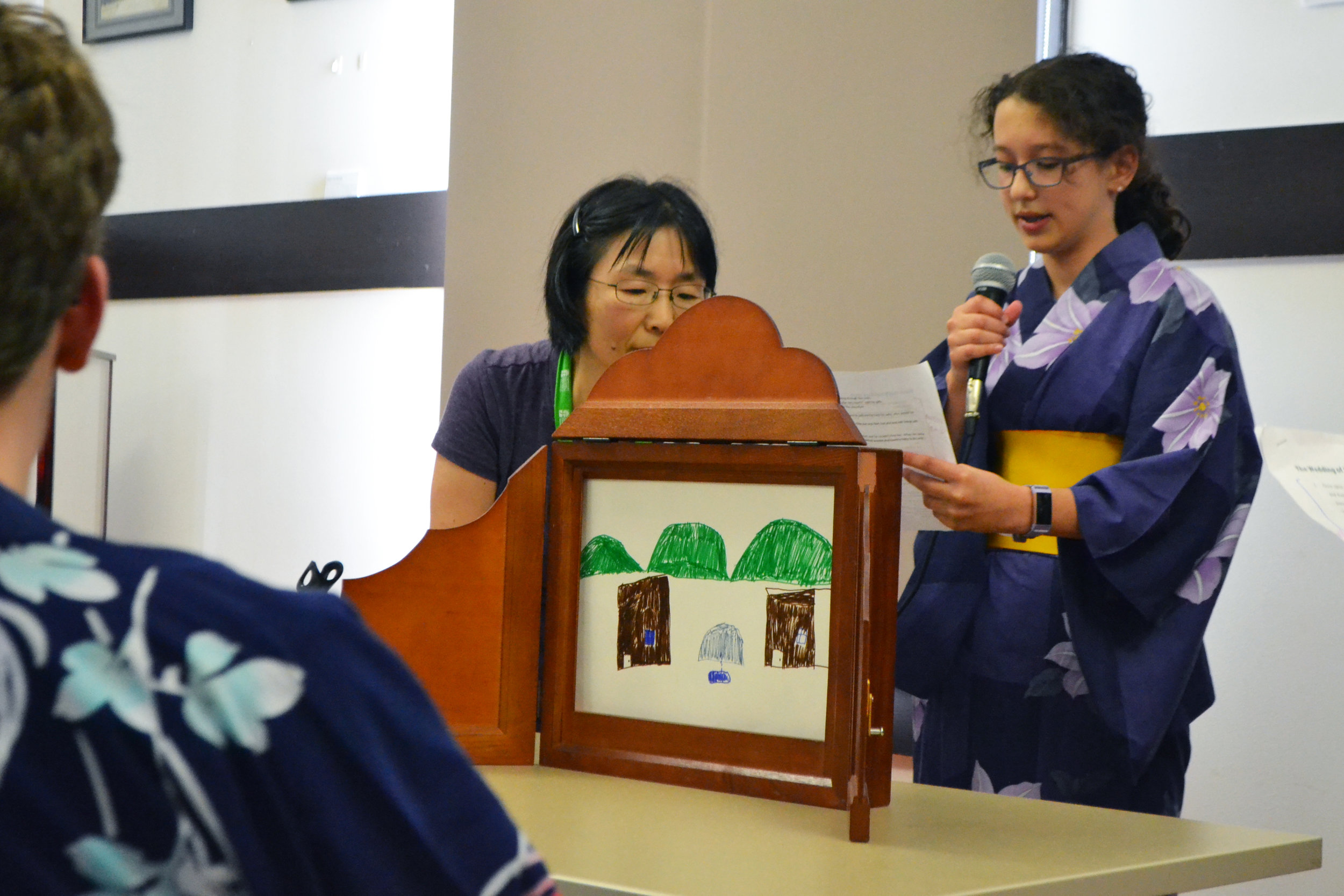 Campers in second week performed Kamishibai (Traditional Japanese storytelling method) both in English and Japanese.   Photo by Arisa Nakamura