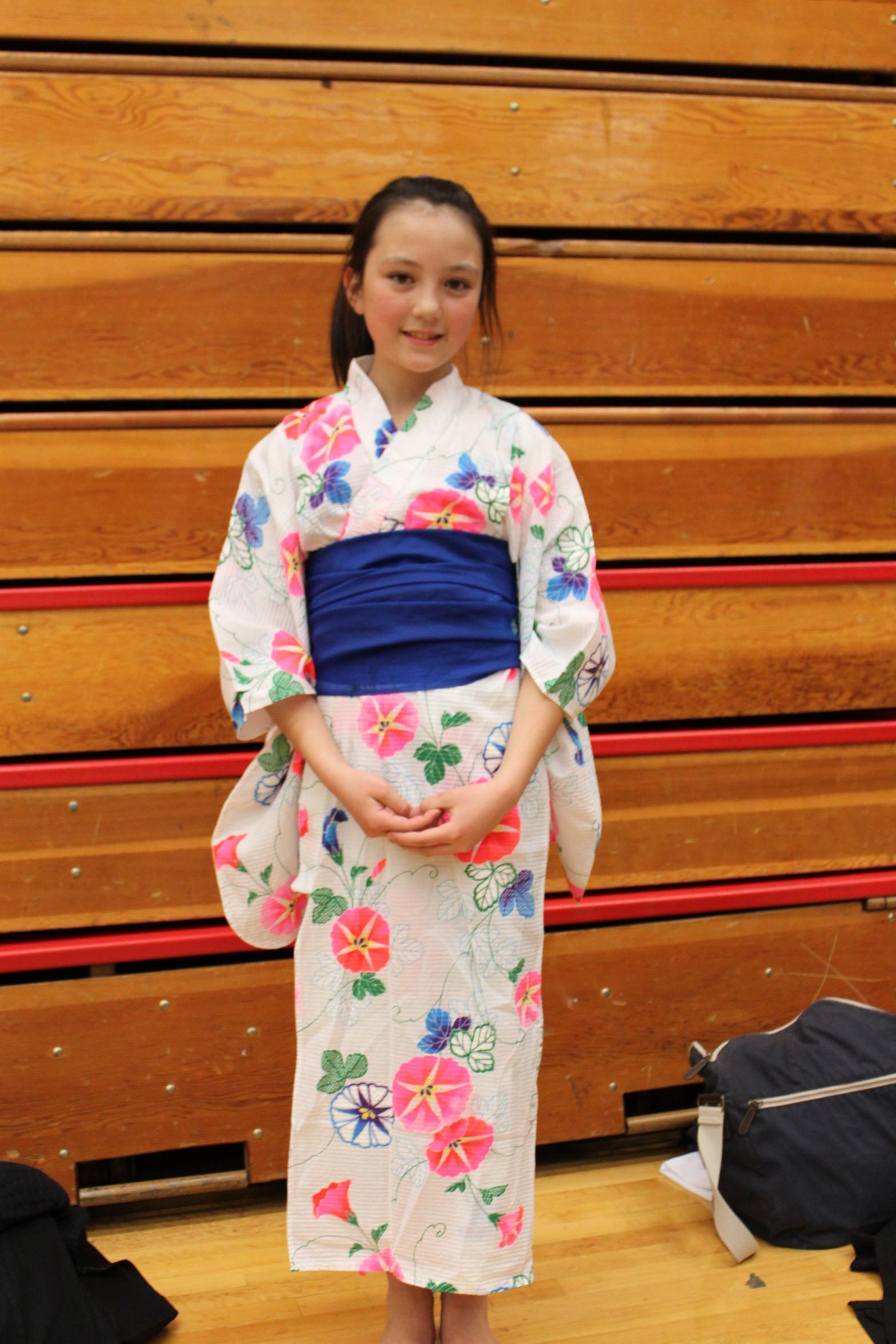 Jenna Phillips at age 9 wearing a yukata at a Japanese festival.