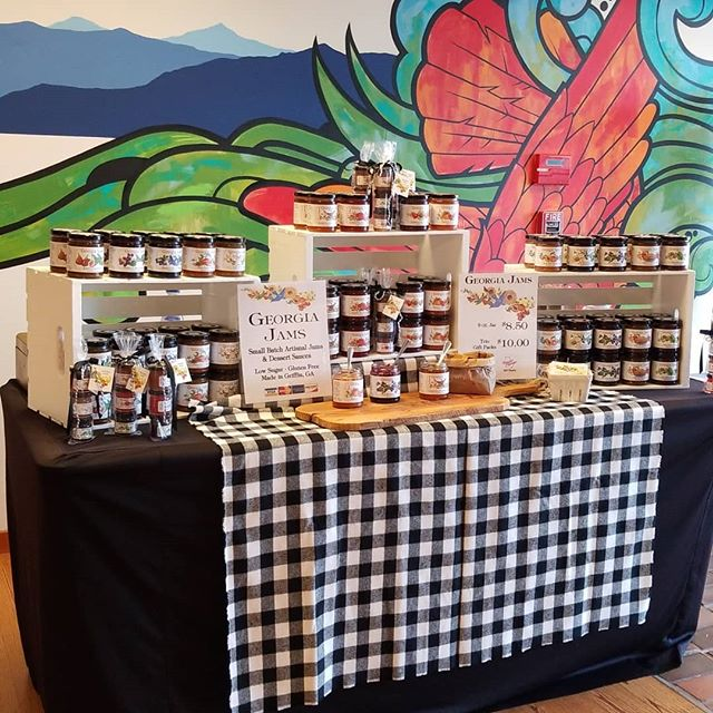 I'm all set up for a Georgia Jams pop up here at Patagonia in Atlanta, GA. Y'all drop by and see me and taste the best low-sugar fruit spreads you've ever had. . . . #GeorgiaJams #fruitspreads #eatwiththeseasons #popupatl #gettingintothatmarketseason #buylocal