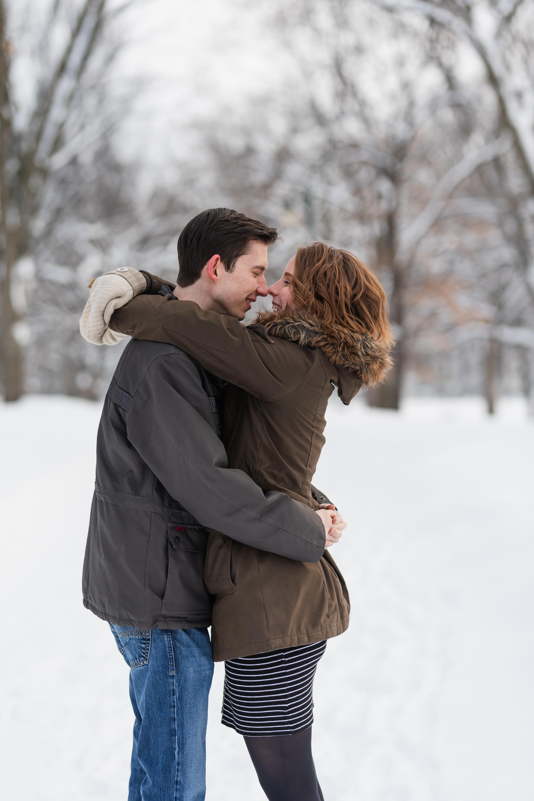 Winter Fargo Island Park Engagement Photos - Chelsea Joy Photography