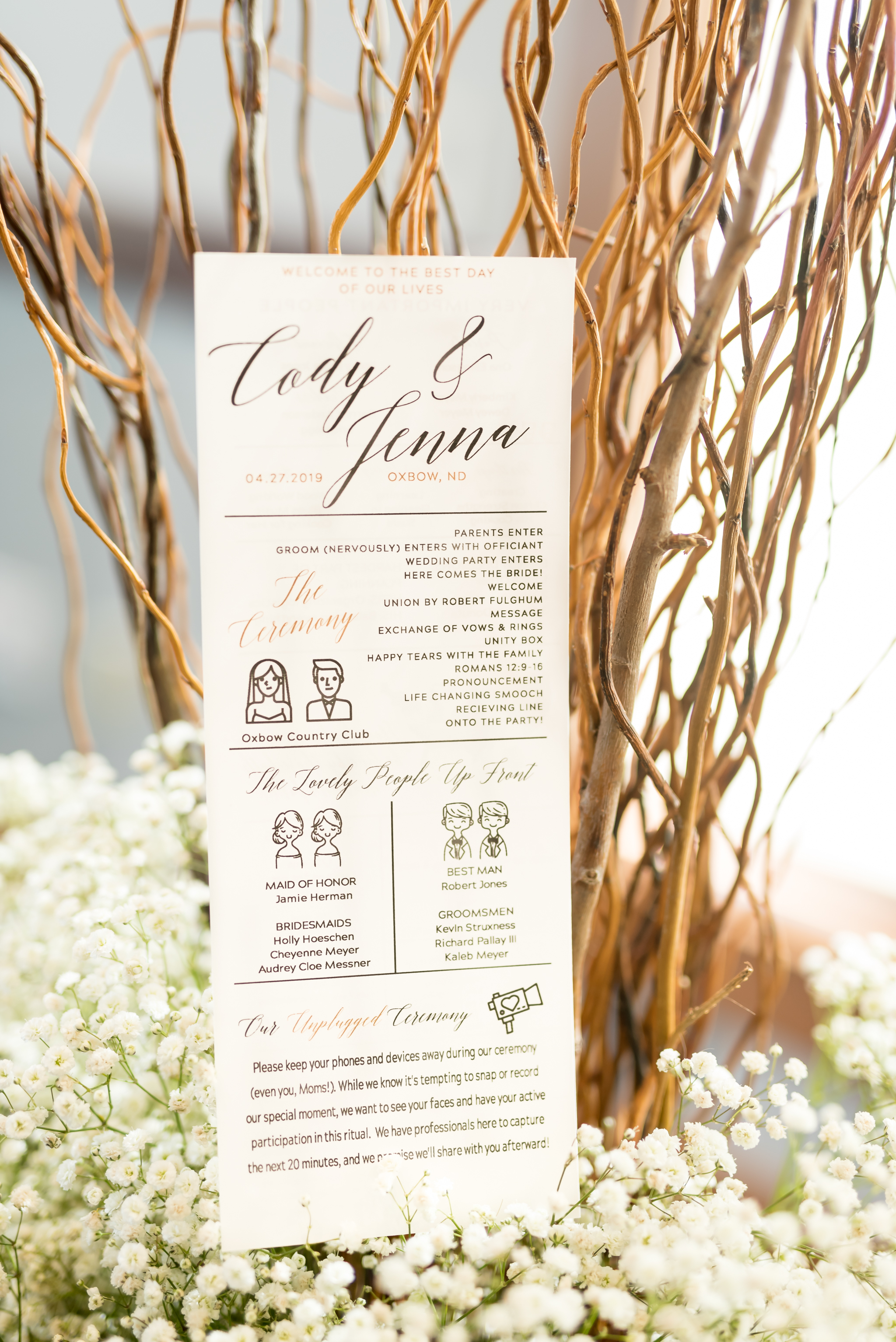 Wedding Program from Oxbow Country Club Wedding | Fargo-Moorhead Wedding Photographer