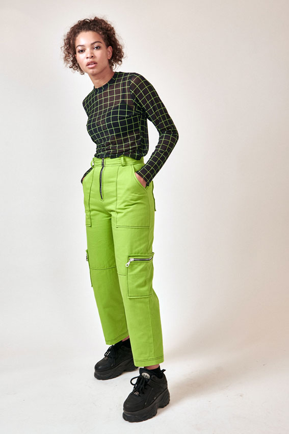 slime green high-waisted trousers