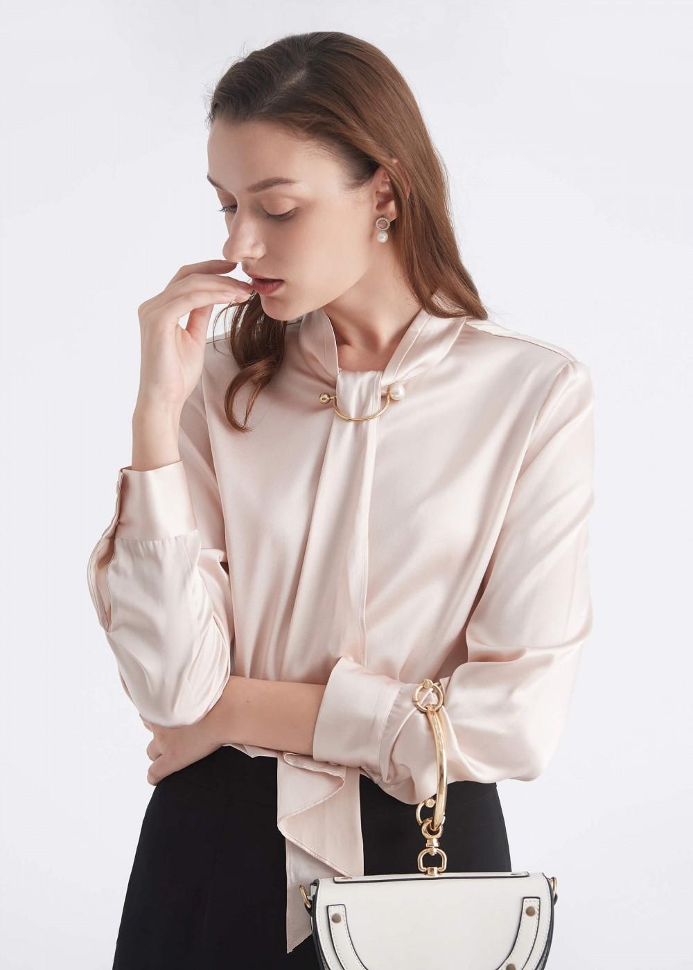 LilySilk - Silk tie neck blouse