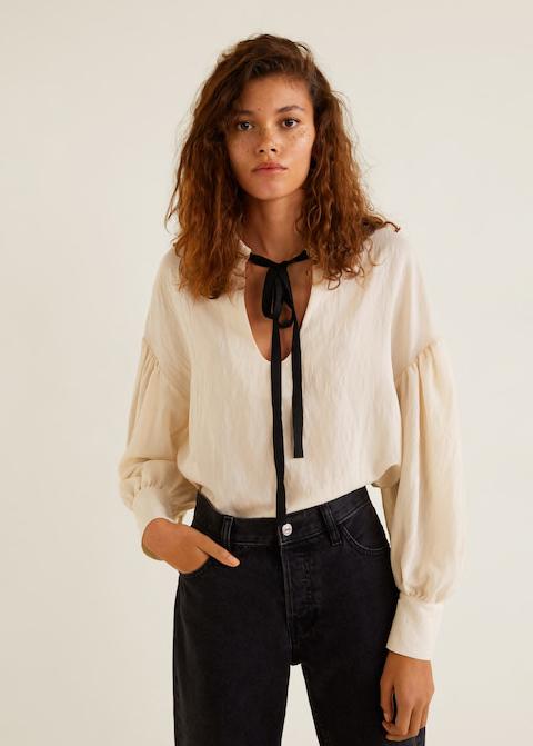 Mango - Tie-neck blouse