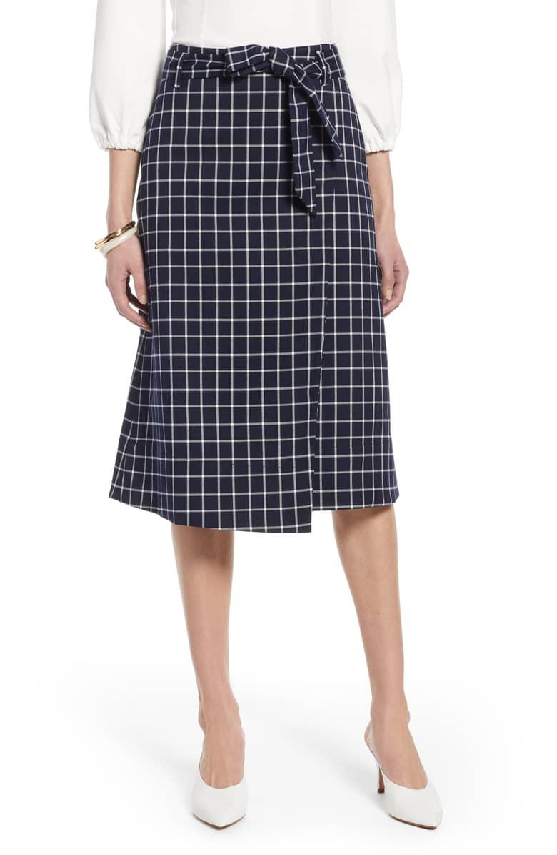 Halogen - Check wrap skirt