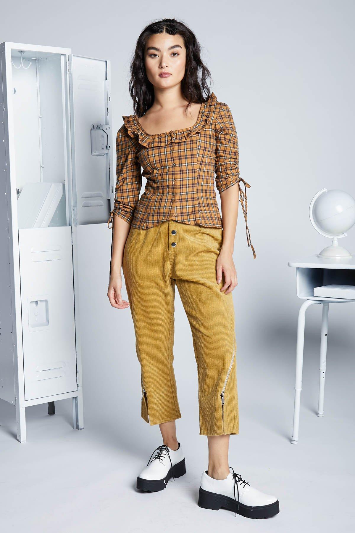Eggie - Peplum plaid blouse