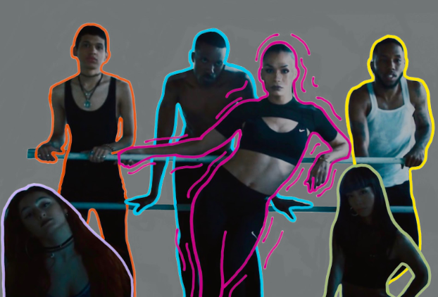 Above: Leiomy Maldonado (outlined in pink) and a group of dancers posing during the Nike 2018 Pride Month commercial.