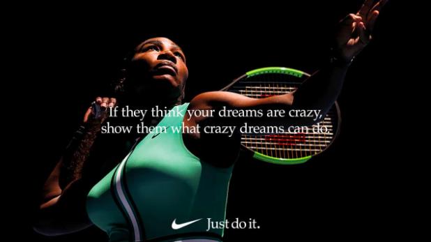 Above: 2019 Nike advertisement featuring tennis champion Serena Williams.