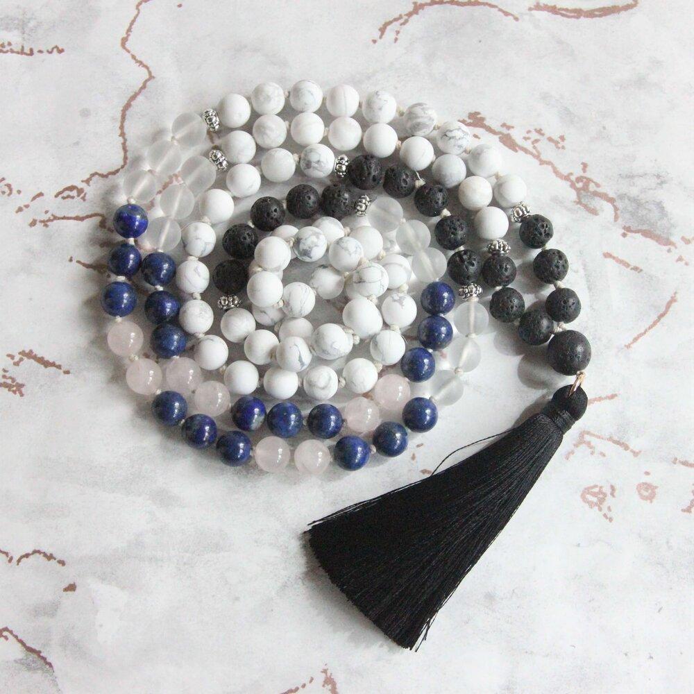 Markers Zen Style Mala ~ Matte Porcelain Jasper ~ Labradorite ~ Howlite~ Job/'s Tears ~ Hand Knotted ~ Tassel Necklace ~ 32 108 Bead