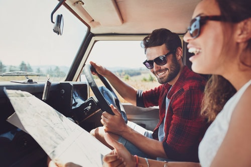 happy man and woman in jeep no longer depressed