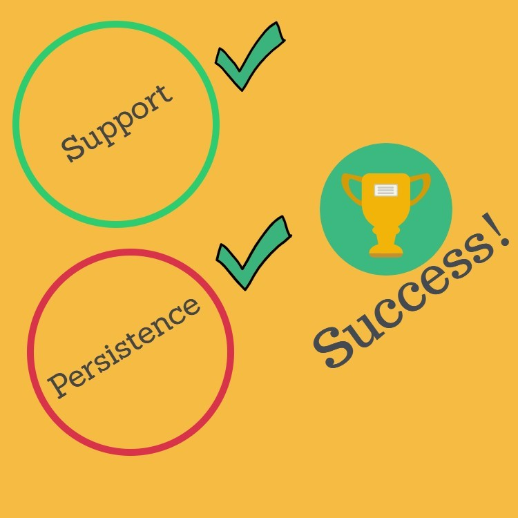 Folsom Therapy Infographic of Support Plus Persistence Leads to Success