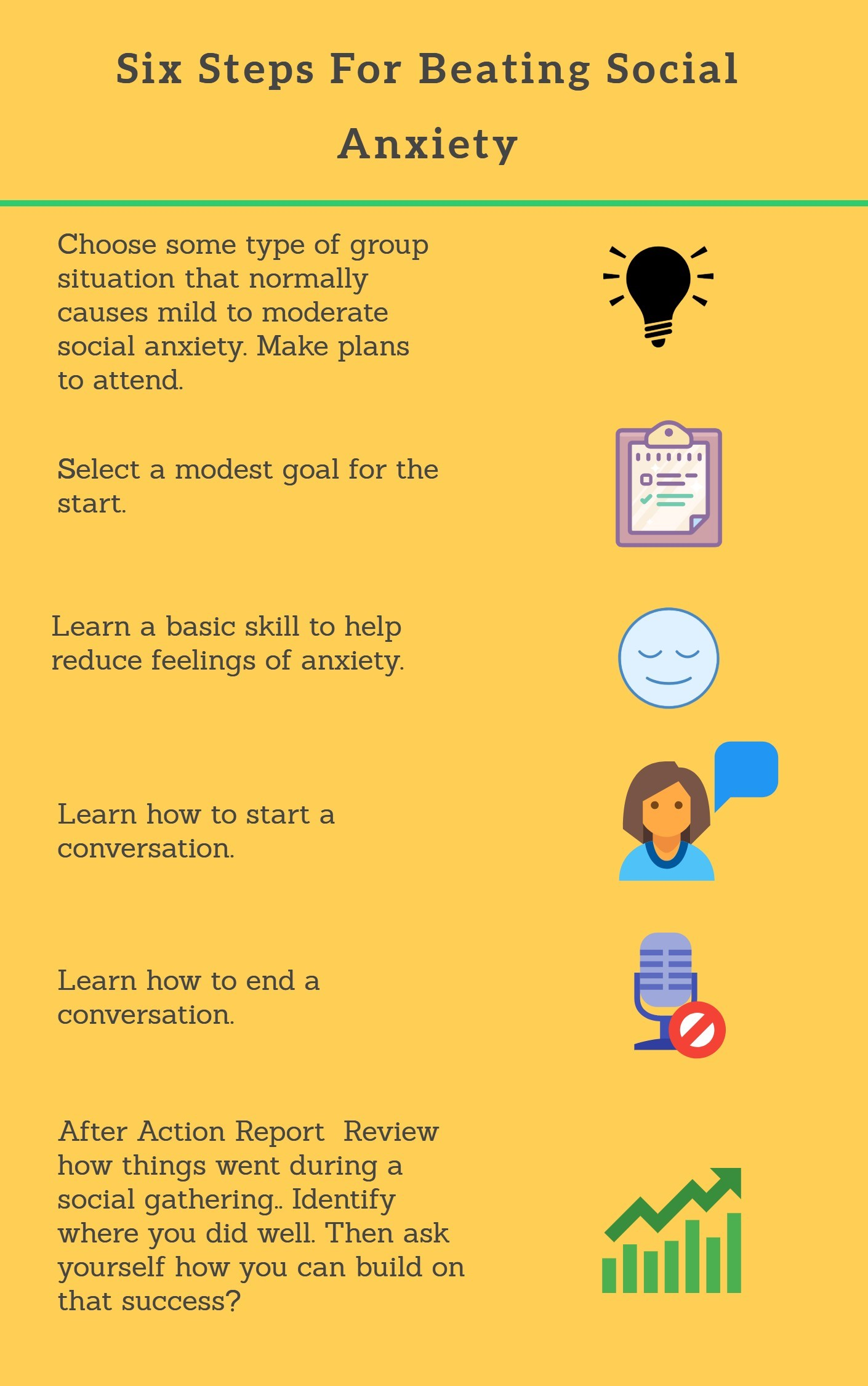 Folsom Anxiety Therapy infographic on six steps to overcome fears