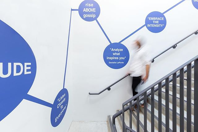The unique stairwell graphic we designed for the West Vancouver Police Dept. turned out amazing. Thank you to @daniellelaporte for her inspiring quotes and to @jonmcmorran for his wonderful talent photographing this space.
