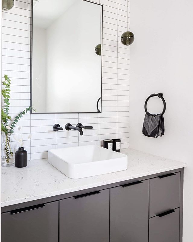 Power Room | Loving the minimal and unique vibe of this recently designed powder room at #MD17thave. Interior Design: @moordesign  Built By: @asanti.homes  Photo: @ishot.ca