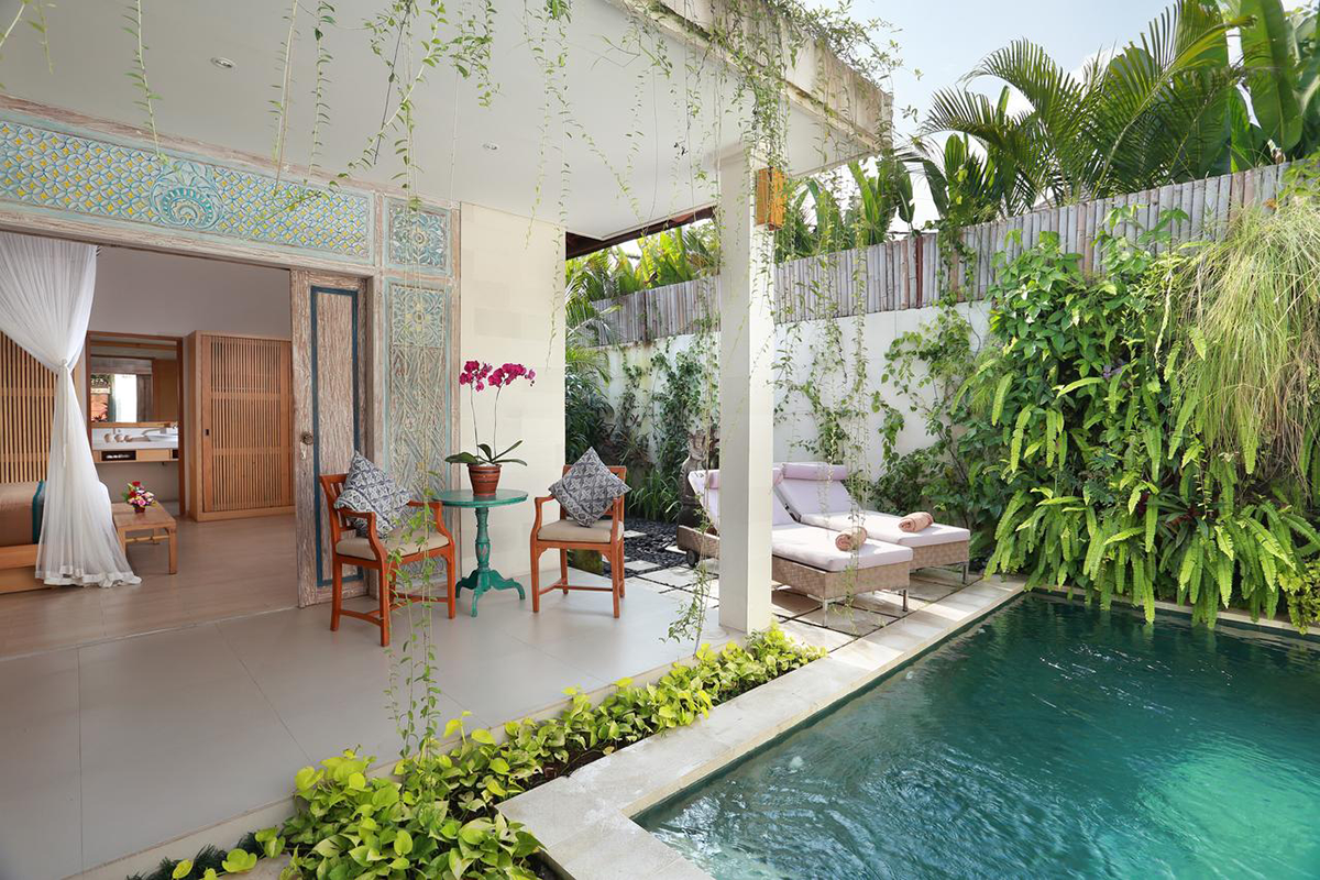 1brm Pool Villa - 100 sqm private 1 bedroom Plunge Pool Villa with Kitchenette and stunning bathroom set amongst tropical garden.
