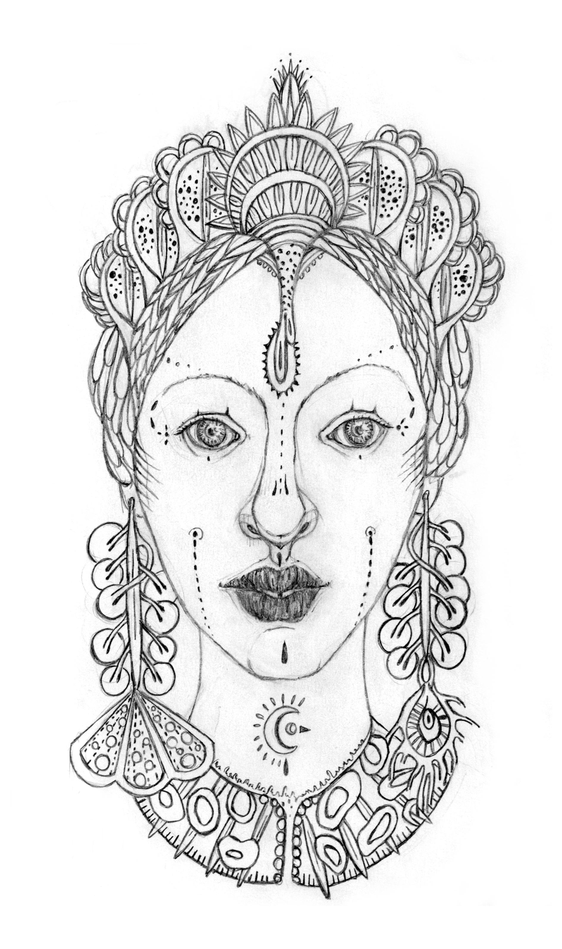 Above is the first sketch of the Maha Gaia portrait, she gained a beautiful headdress on the finished piece, worthy of a goddess (to the left).