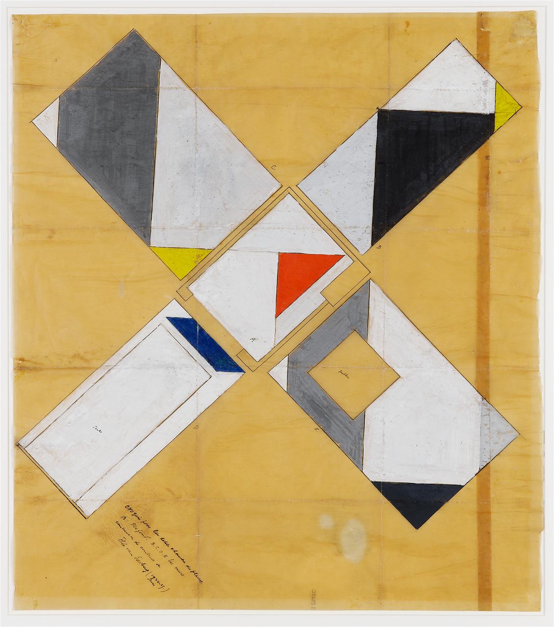 Ontwerptekening door Theo van Doesburg (1924-1925) in de collectie van het Van Abbemuseum Eindhoven