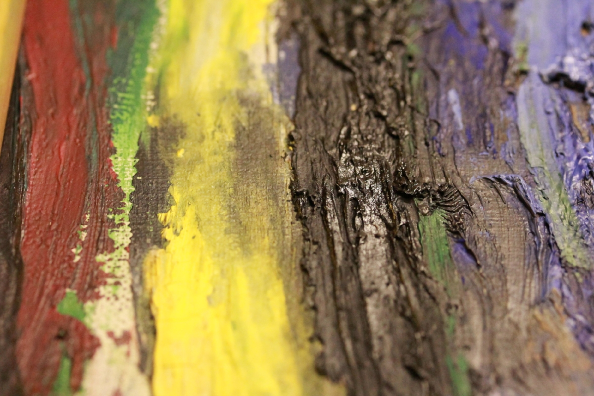 Detail rimpelende verf in zwarte impasto.  Dangerous kissing , Asger Jorn, 1955, in collectie Museum Jorn, 1973-0143