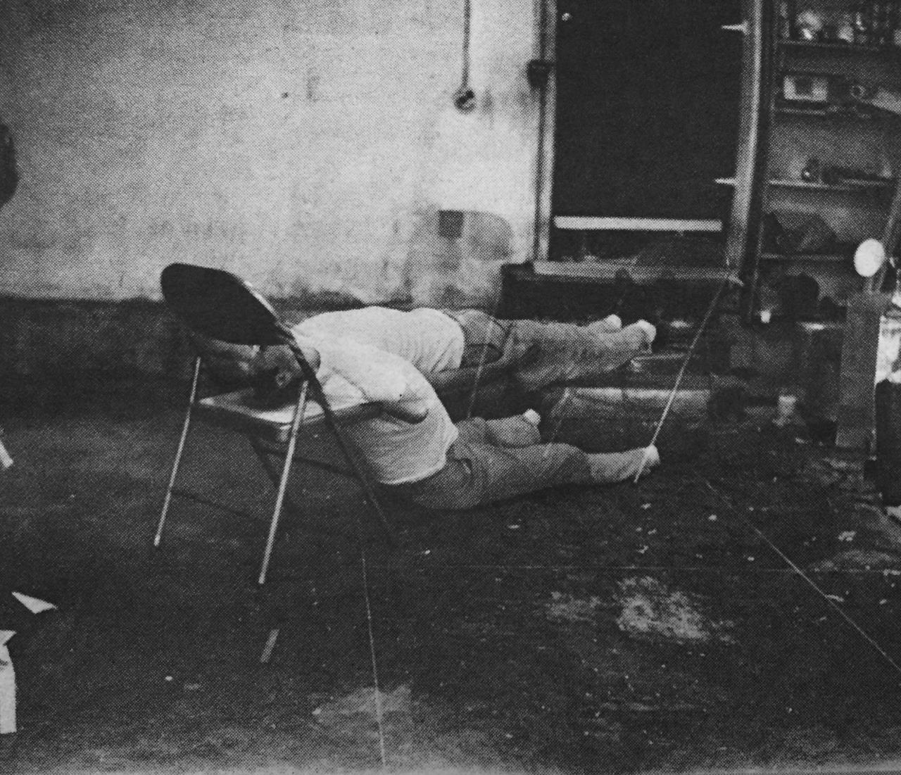Bruce Nauman,  Failing to levitate in the studio , 1966