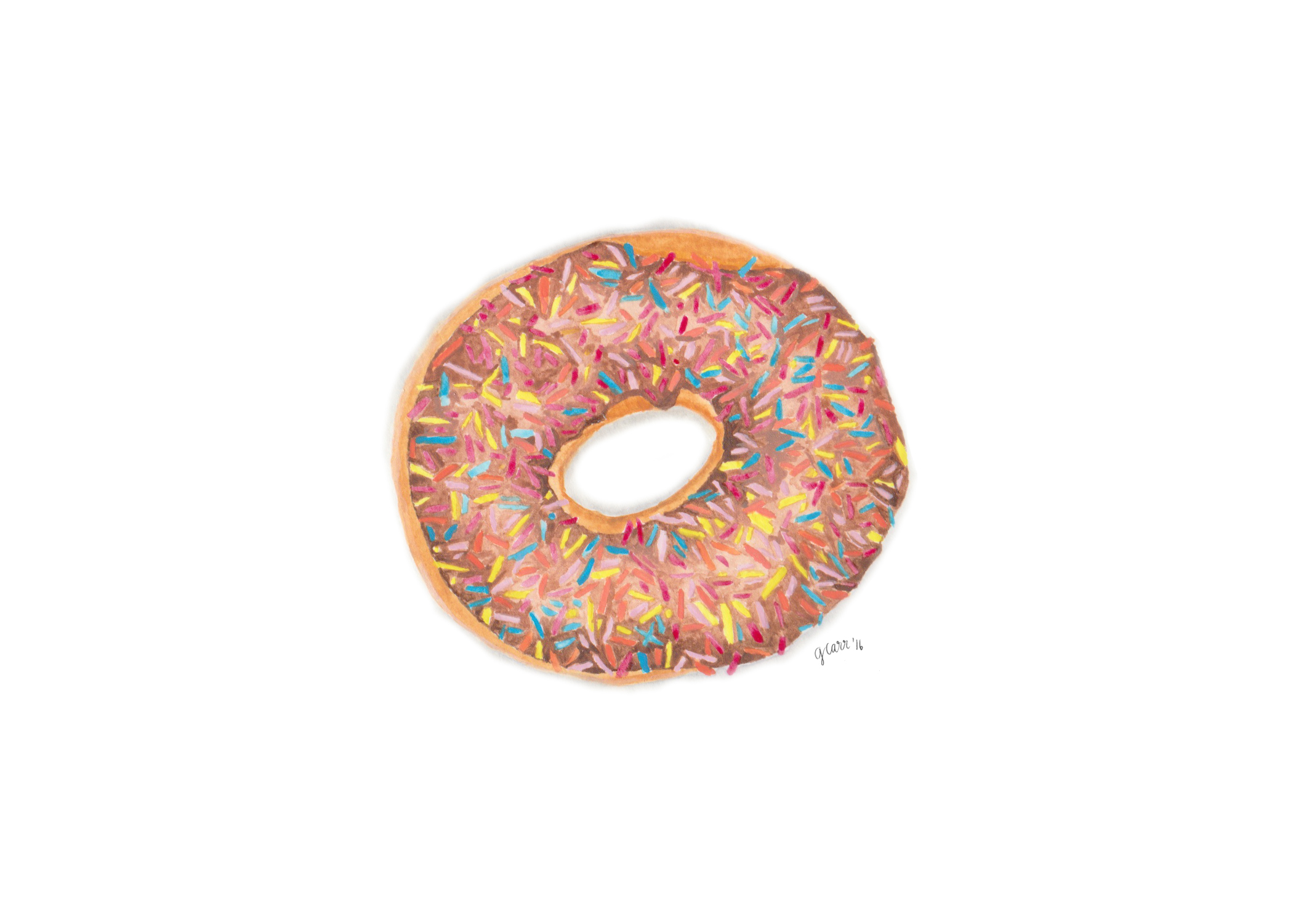 Sprinkle Donut Watercolour Illustration