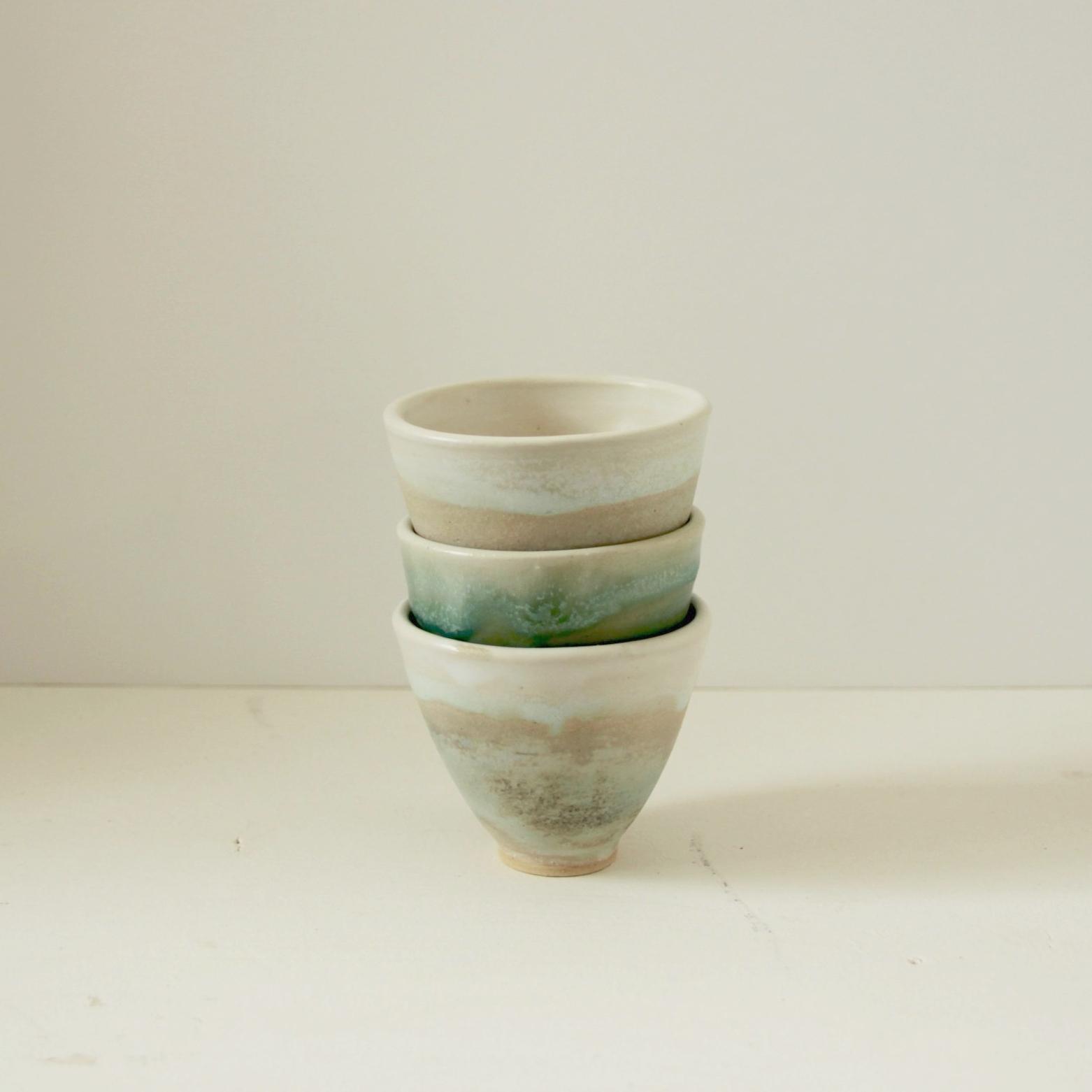 Lichens and vert d'eau express cups