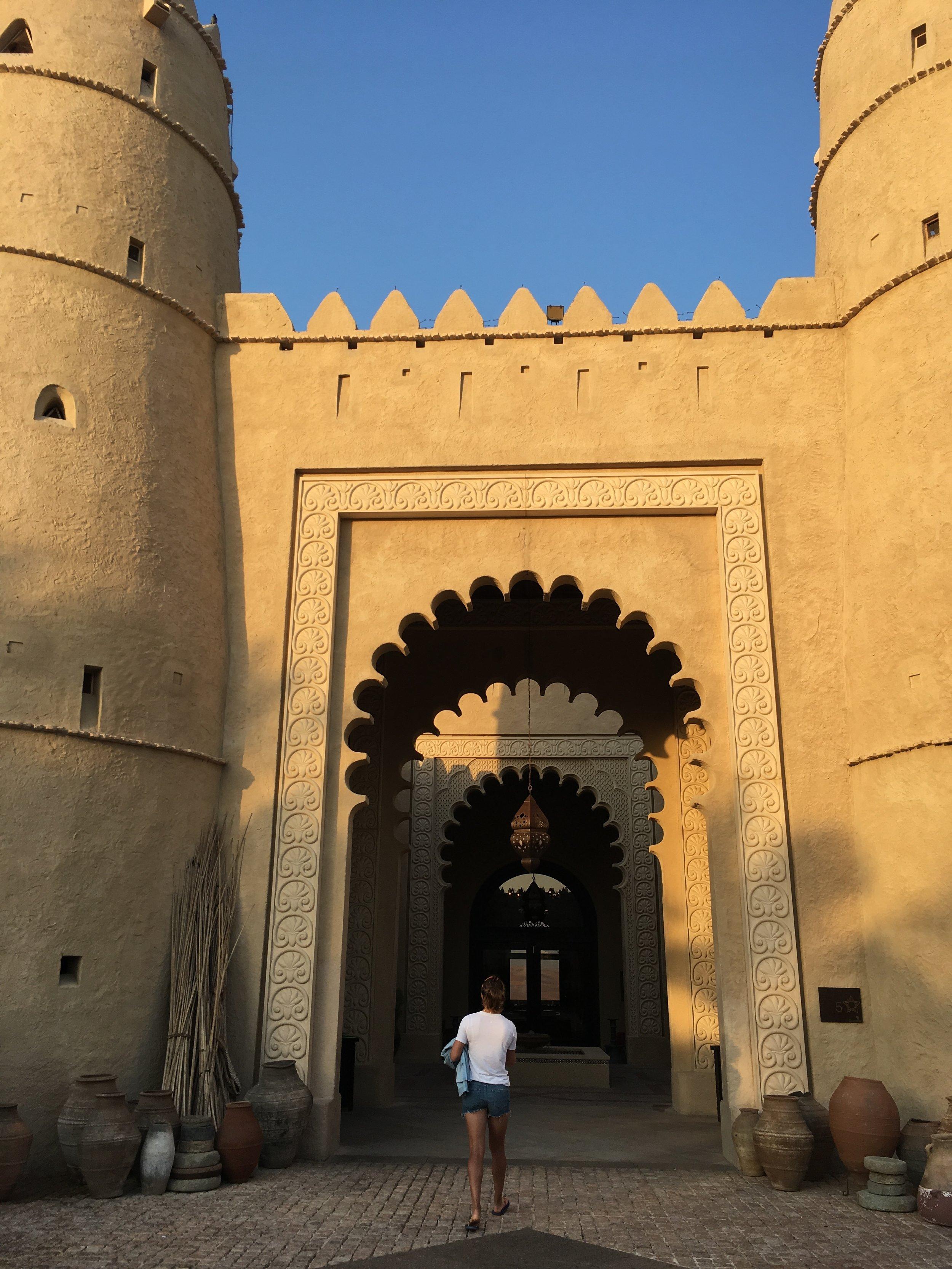 Walkin into main lobby of  Qasr Al Sarab by Anantara  at the Lisa Desert, 2.3o hours away from Abu Dhabi.
