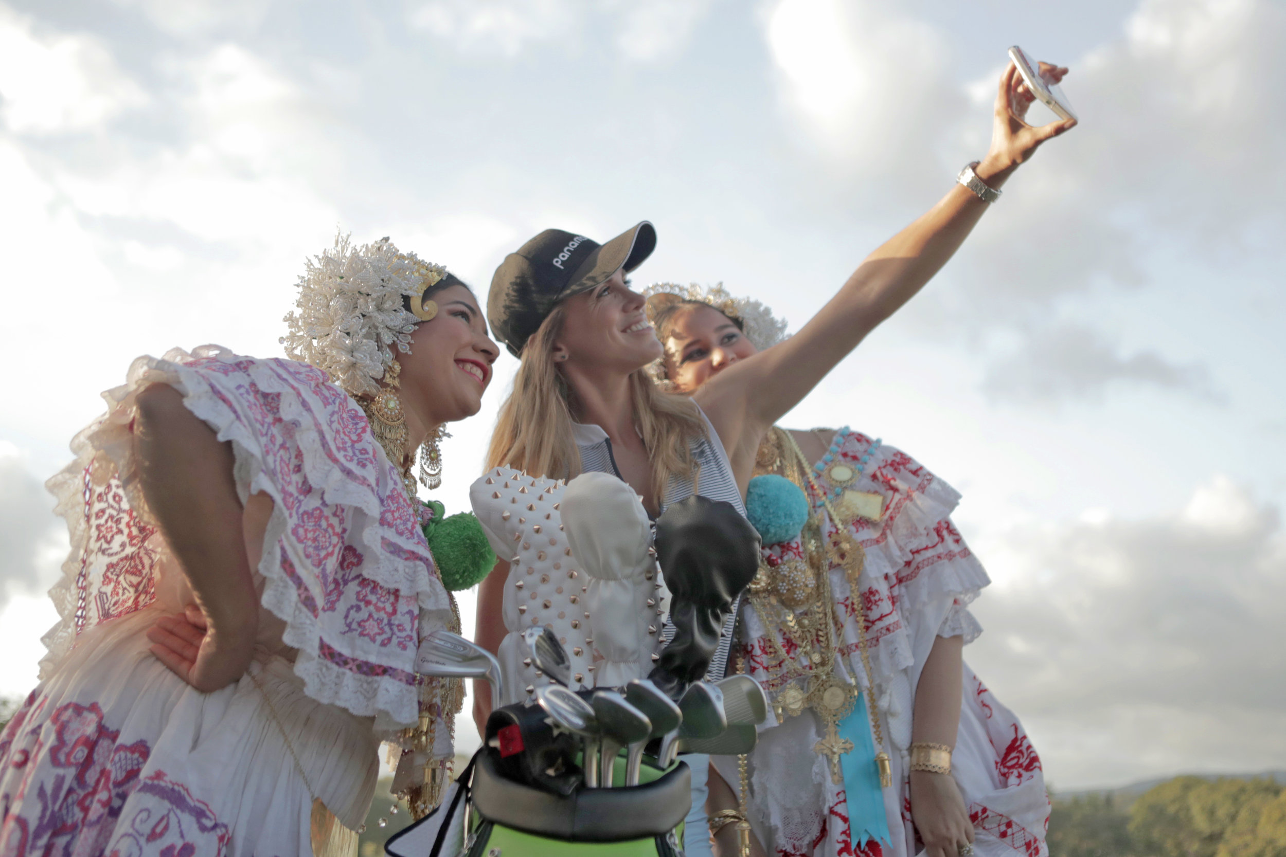 La Pollera is the national dress in Panama worn during festivals and celebrations. Almost convinced them to swop outfits.