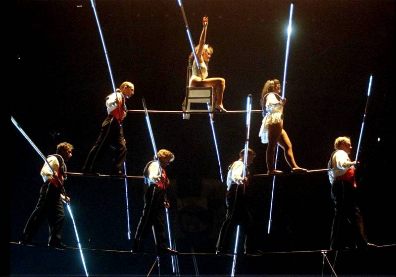 The 7 Person Chair Pyramid is one of the Flying Wallenda's most famous tricks