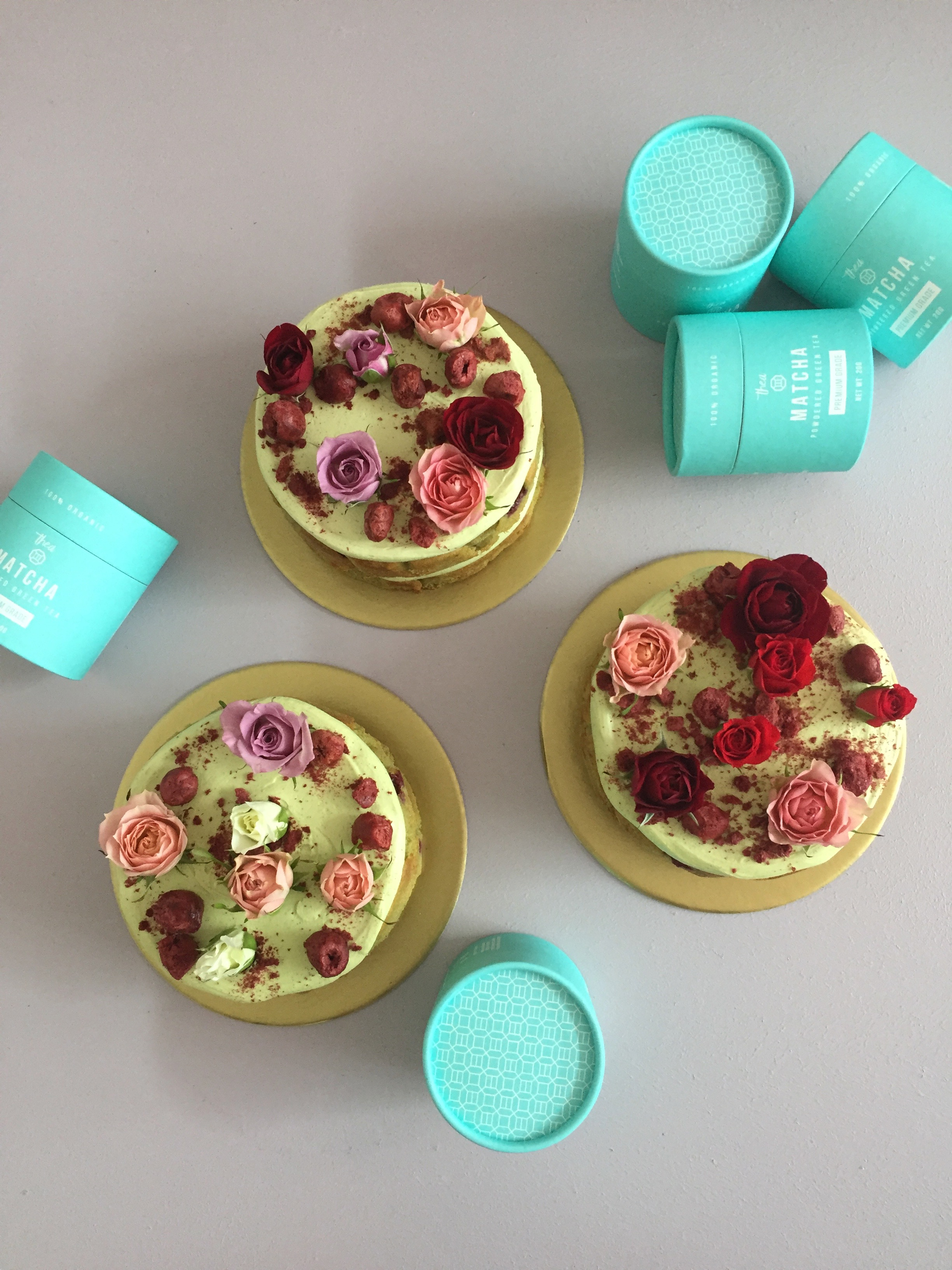 Matcha and Sour Cherry cakes The Caker