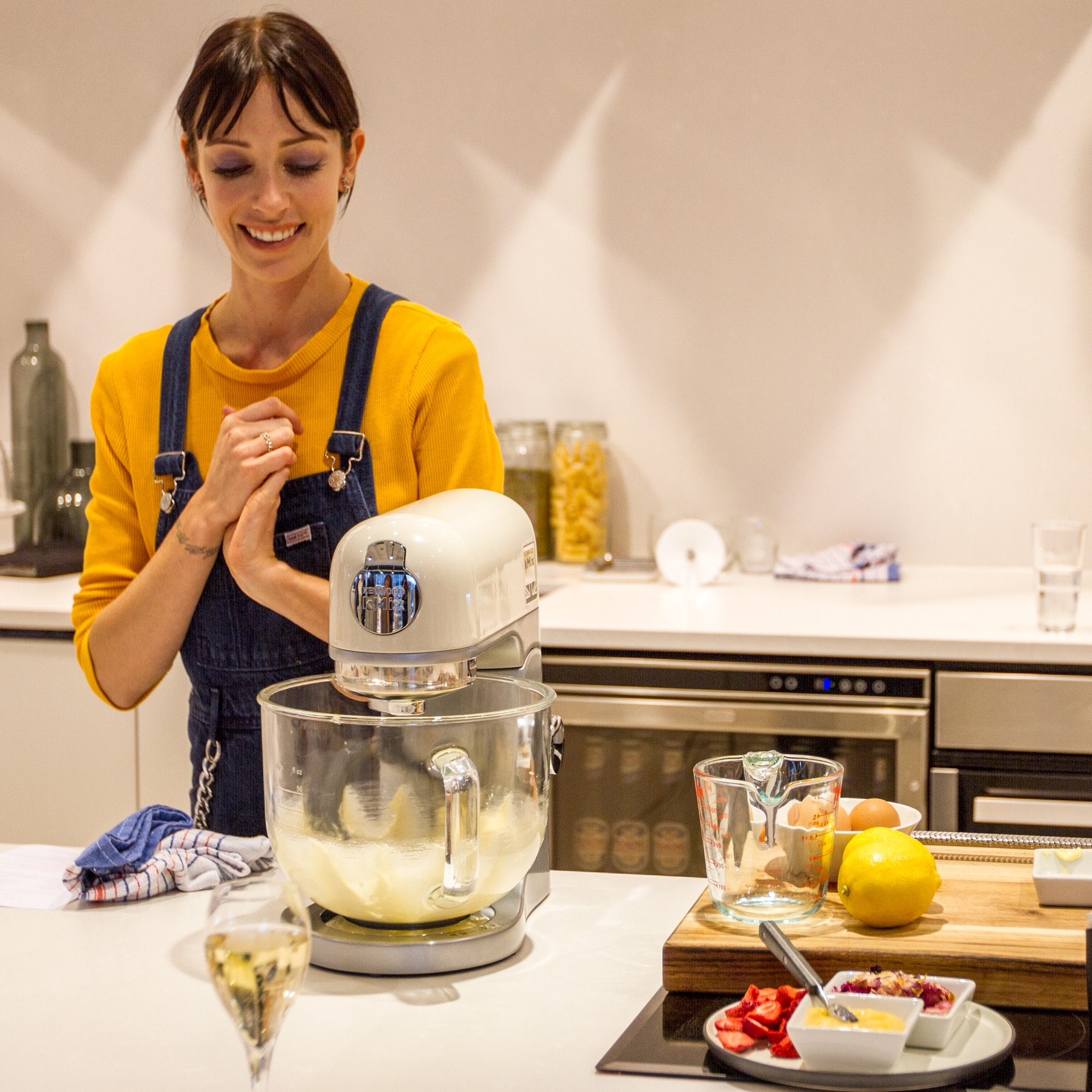 Earlier this year at the Kenwood showroom, demonstrating how to make my Champagne, blackberry and lemon minicakes in the glass bowl kMix.