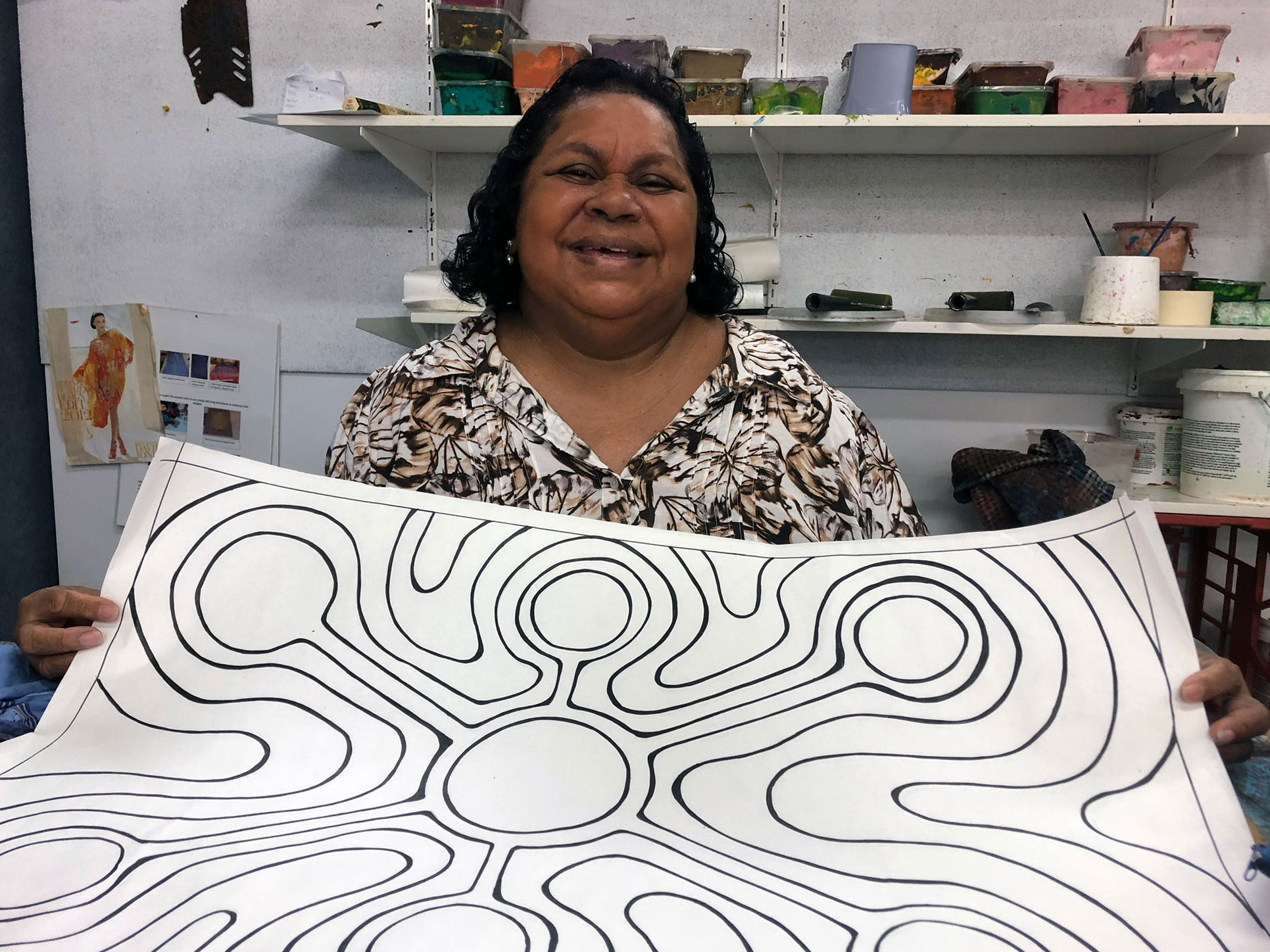 MudMap-Studio-Martha-Lee-with-her-Jila-(fresh-water-soak)-artwok-to-be-installed-as-a-paving-pattern-in-Chinatown-Broome.-Photo-Vanessa-Margetts.jpg