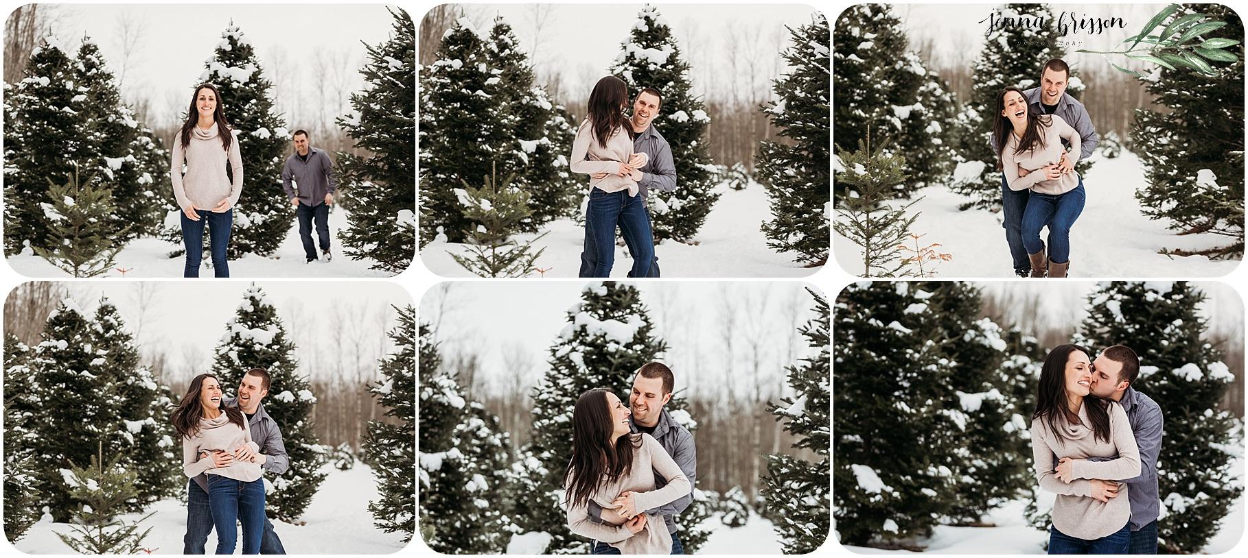 Vermont Winter Engagement Photos Candid